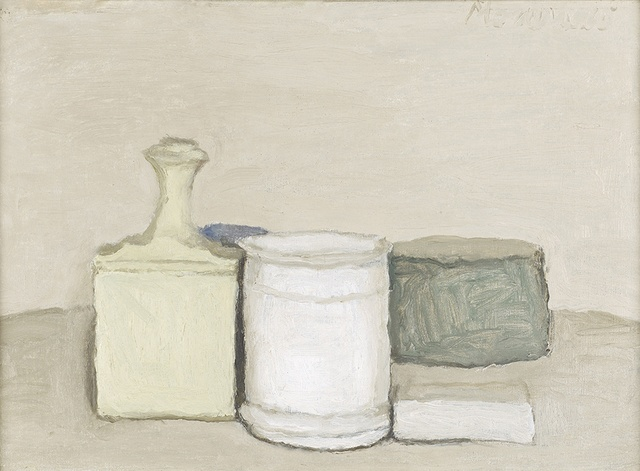 "Giorgio Morandi (1890 -€"" 1964) Natura Morta, 1953 oil on canvas 33.5 x 43 cm Private collection"