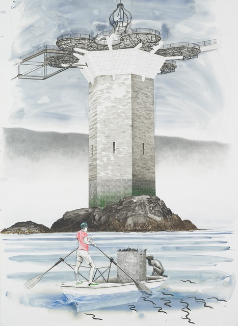 Charles Avery Untitled (Onomatopoeia Harbour Gate, West Tower, with Oarsman in foreground), 2018 Pencil, ink, acrylic and watercolour on paper 217 x 135 cm (paper) 227 x 145 (framed)